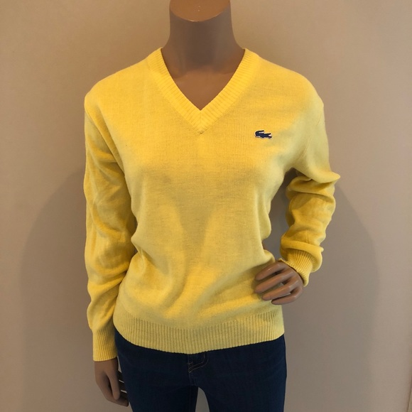 5f5b4879ce Lacoste Sweaters - VINTAGE Yellow LACOSTE sweater - Hong Kong 